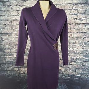 Chaps Dresses - Chaps Purple Shawl Collar Dress - Small